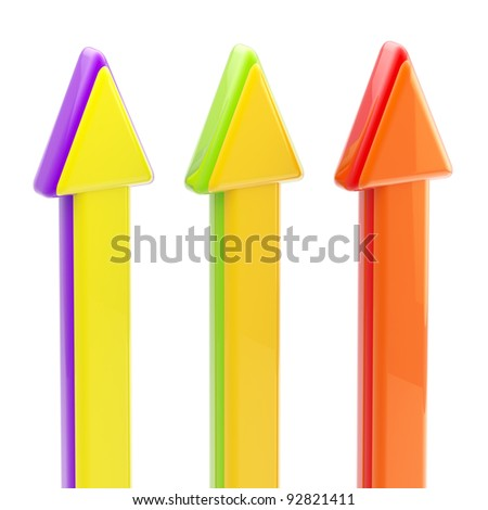 Three upgoing colorful glossy arrows isolated on white