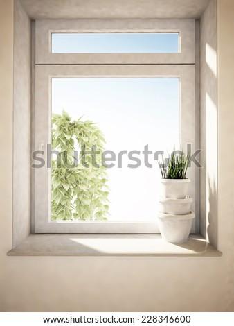 three vases on the windowsill, 3D rendering - stock photo