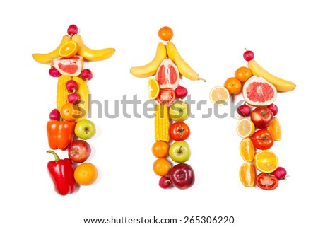 Three vertical arrows of ripe fruits and vegetables on a white background - stock photo