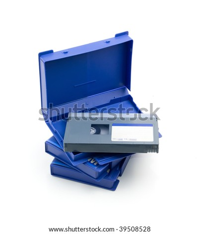 three video tapes with empty label in blue cases on a white background