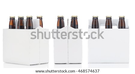 Three views of a Six Pack of brown Beer Bottles isolated over white with reflection.