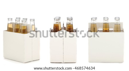 Three views of a Six Pack of Clear Beer Bottles isolated over white with reflection.