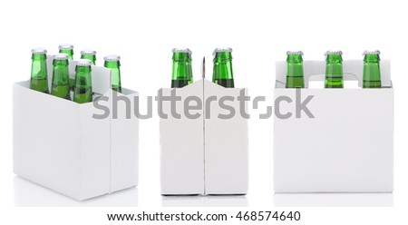 Three views of a Six Pack of green Beer Bottles isolated over white with reflection.