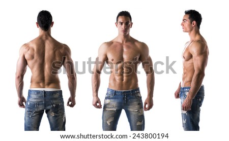Three views of muscular shirtless male bodybuilder: back, front and profile shot - stock photo