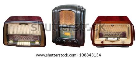 Three vintage wooden radio casing, isolated on white background - stock photo