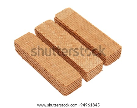 Three waffles are isolated on a white background