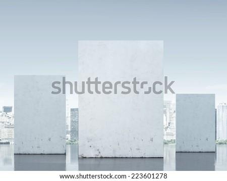 Three walls against city - stock photo