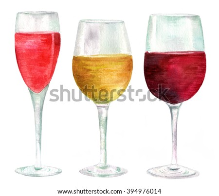 Three watercolor wine glasses (with sparkling rose wine, white and red wine), hand drawn in a retro style on white background - stock photo