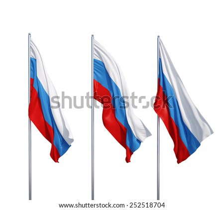 three waving flags of Russia on a white background - stock photo