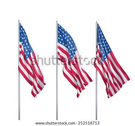 three waving flags of usa on a white background