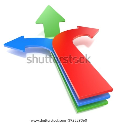 Three way arrows, showing three different directions. Blue left, red right and forward green arrows concept. 3D render illustration isolated on white background - stock photo
