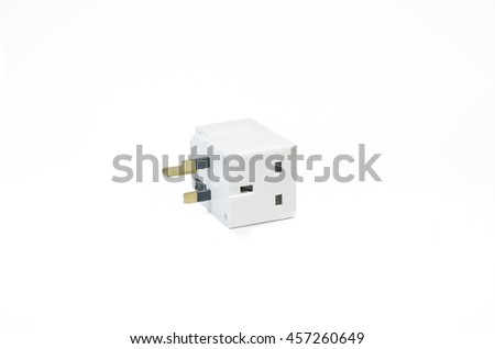 Three Way Electric Socket Isolated On Stock Photo (Royalty Free ...