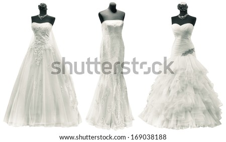 Three Wedding Dress Isolated with Clipping Path - stock photo