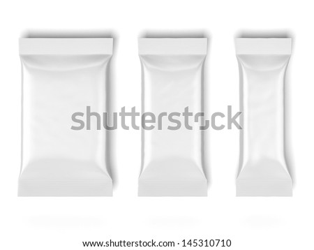 three White Blank Foil Packaging - stock photo