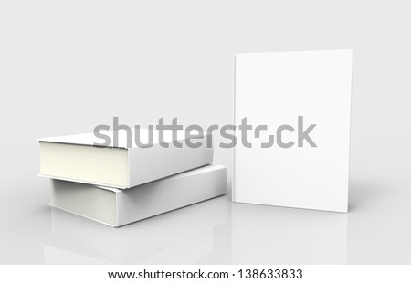 Three white books with blank covers