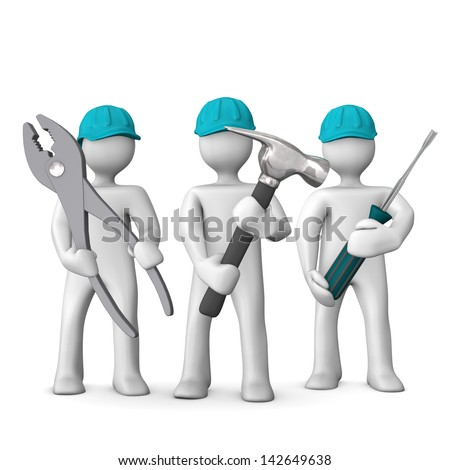 Three white cartoon characters with blue helmets and tools in the hands. White background. - stock photo