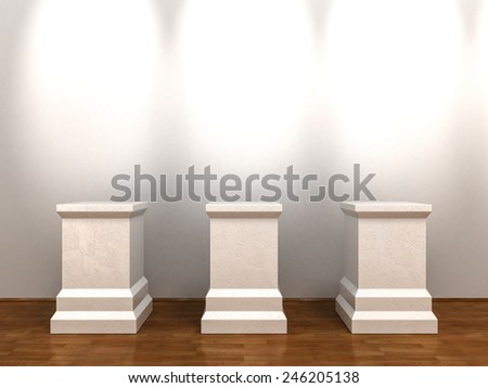 Three White Empty Pedestals at Gallery Interior Background - stock photo