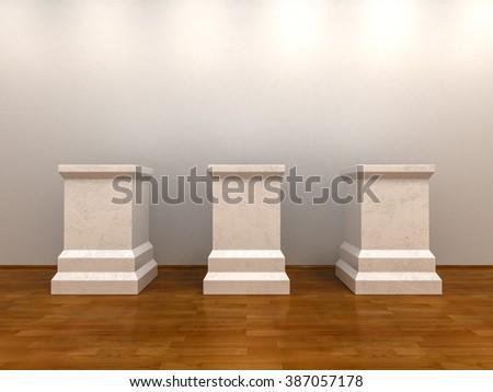 Three White Empty Pedestals at Gallery Interior Background. 3D illustration - stock photo