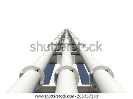 Three white industrial pipes stretching into distance. Isolated on white background. Industrial concept - stock photo