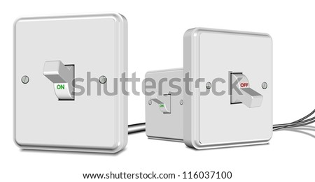 Three white light switches turned on and off on the white background / Switches - stock photo