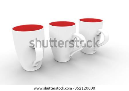Three White-Red Coffee Mugs - stock photo