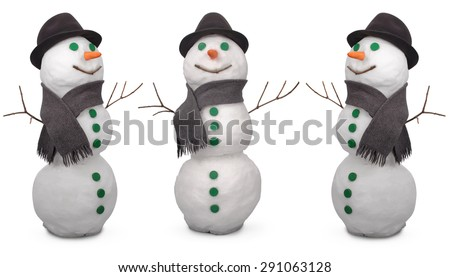 Three white snowman  whith scarf and felt hat. On white background - stock photo
