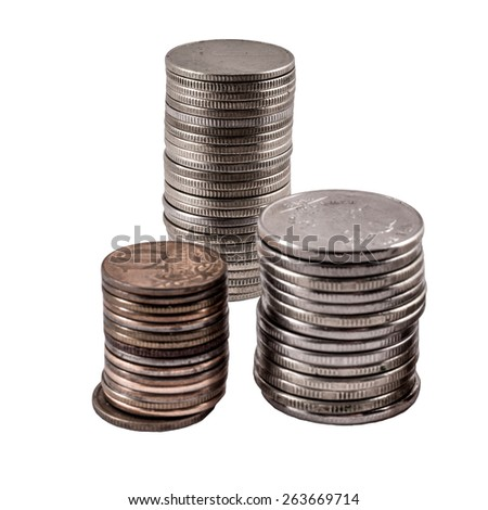 three white stack of coins on white background