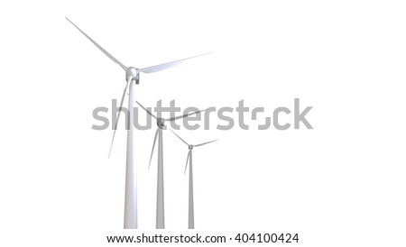 Three white wind turbines generating electricity 3d render