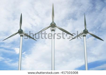 Three wind genetaros on blue sky background. 3D Rendering - stock photo