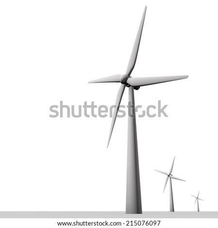 Three windmills against a white background,