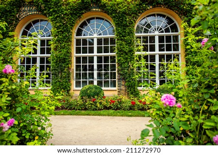 Three windows with flowers and green leafs - stock photo