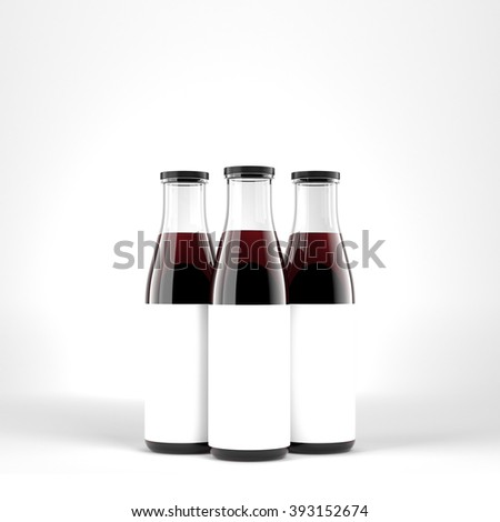 Three wine bottles with wide neck, blank labels on them. White glass. Front view. Concept of bottling wine. 3D rendering. - stock photo