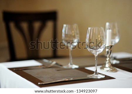 Three wine glasses and a candle on a table