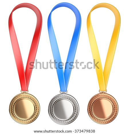 Three winning places concept. Champion Medals with Ribbon - high qulity 3d image isolated on a white background. - stock photo