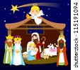 Three wise men bring presents to Jesus in Christmas Nativity Scene - stock