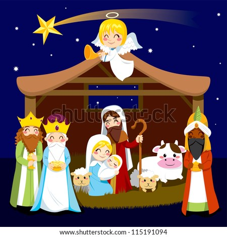 Three wise men bring presents to Jesus in Christmas Nativity Scene - stock photo