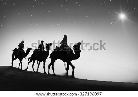 Three Wise Men Camel Travel Desert Bethlehem Concept