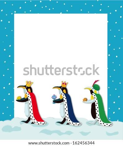THREE WISE PENGUINS - stock photo