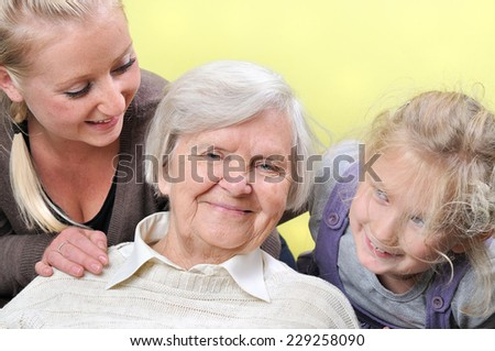 Three woman - three generations. Happy family.