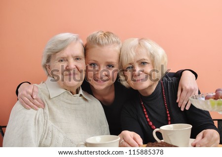 Three woman - three generations. MANY OTHER PHOTOS WITH THIS FAMILY IN MY PORTFOLIO. - stock photo