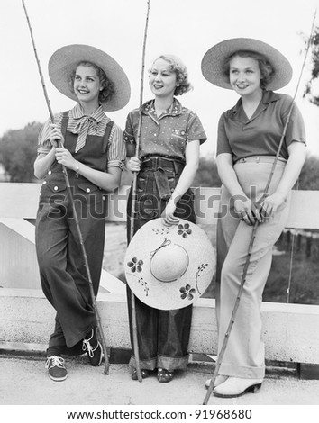 Three Women going fishing with huge hats