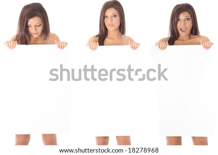 Three women holding a blank sign - stock photo