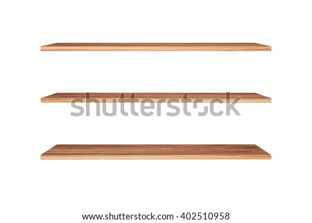Three wood bookshelves isolated with white background.