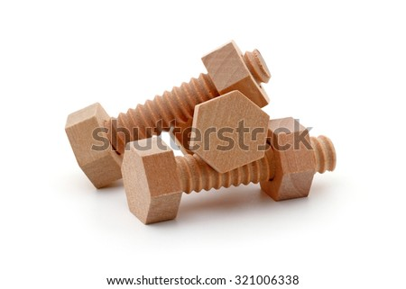three wooden bolts Isolated on white background - stock photo