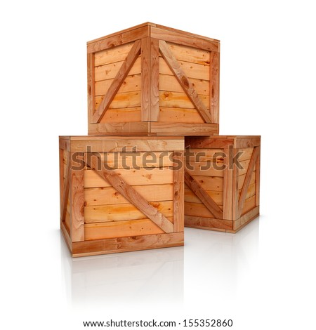 Three wooden boxes 3d rendered. Isolate on white background - stock photo