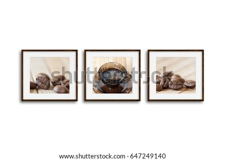 Three Wooden Frames Set Coffee Motif Stock Photo (Edit Now ...