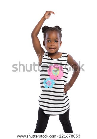 Three Years Old Adorable African American Girl Dance Pose  Portrait on White Background