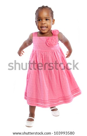 Three Years Old Adorable African American Girl Portrait on White Background