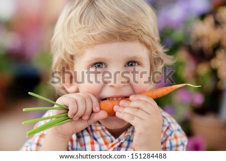 Three years old boy eating fresh carrot. - stock photo