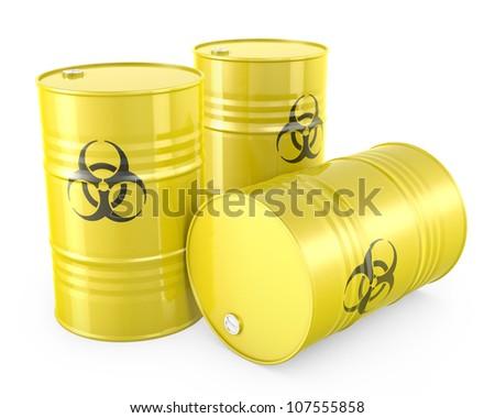 Three yellow barrels with biohazard symbol, isolated on white background - stock photo